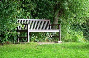 Gartenbank Holz unter einem Baum