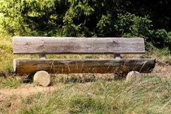 Baumstammbank Eiche massiv Holzbank aus Stämmen rustikal