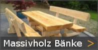 Baumstammbank Gartenbank rustikal Massivholz Sortiment entdecken
