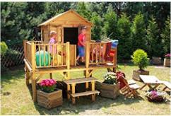 Garten Spielhaus Kinder Stelzenhaus mit Picknick Gartenbank Holz