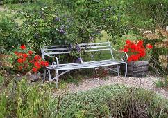 2-Sitzer Gartenbank Metall mit Rückenlehne
