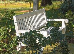 Berühmt Gartenbank Holz weiss Eiche mit Armlehne ZS47