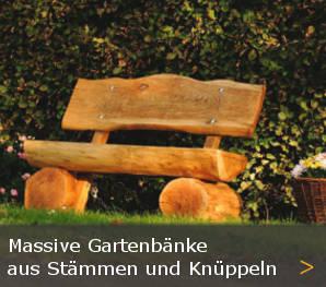 Baumstammbank Massivholz Gartenbank Holz Knueppelholz Knuppelholzbank