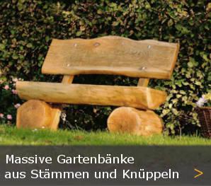 Baumstammbank Massivholz Gartenbank Holz Knüppelholzbank Sortiment entdecken