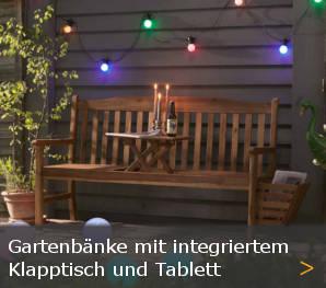 Holz Gartenbank mit Klapptisch und Tablett Sortiment entdecken