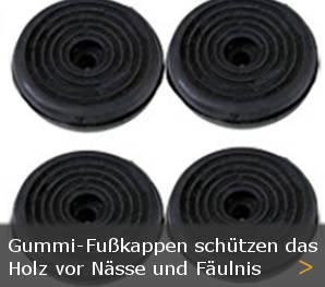 Fußkappen Gummi Holz Gartenbank Gartenmöbel Schutz